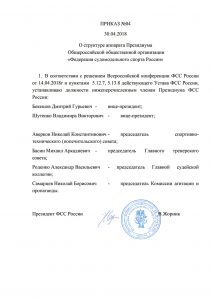 Приказ №04 структура президиума ФССР